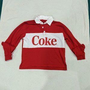 Coke Juniors Sz S Polo Rugby Crop Top Long Sleeve